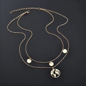 Jewelry - World Map Multilayer chain necklace in gold tone